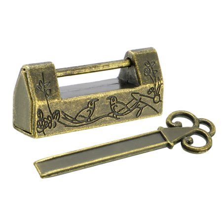 42mm Body Wide Padlock Antique Chinese Old Style Zinc Alloy Brass (Plated Padlock)