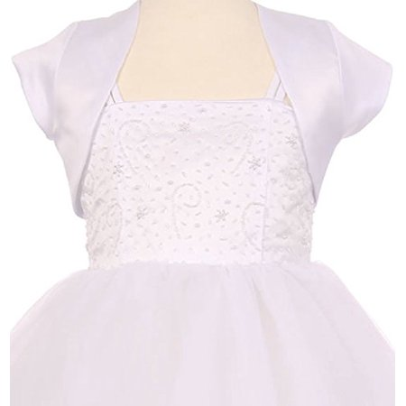 - Little Girls Satin Short Flower Girl Bolero Jacket Cover White 2 (K35D5)