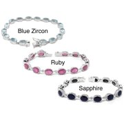 De Buman  Sterling Silver Natural Ruby, Sapphire or Blue Zircon Gemstone Bracelet