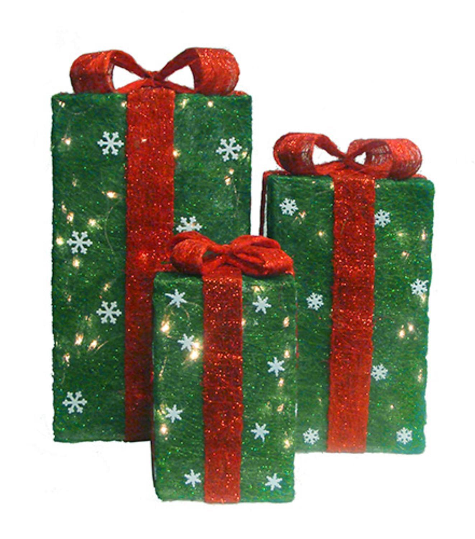 Set of 3 Tall Green Sisal Gift Boxes Lighted Christmas Yard Art ...