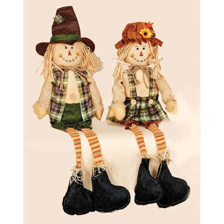 Worth Imports 2 Piece Decorative Sitting Boy and Girl Scarecrows with Long Legs