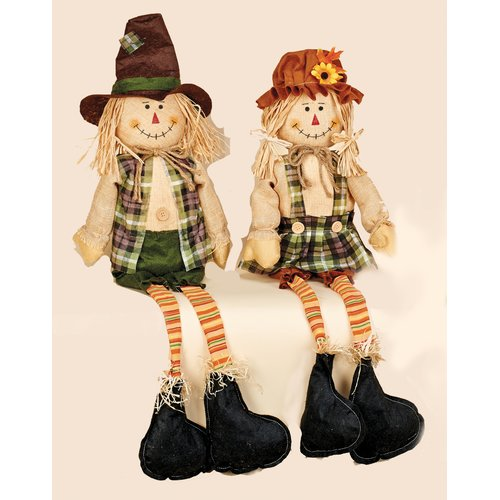 Worth Imports 2 Piece Decorative Sitting Boy And Girl Scarecrows With Long Legs Set Walmart Com Walmart Com