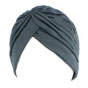 Women's Pleated Pre Tied Head Cover Up Knit Bonnet Sun Turban Cap