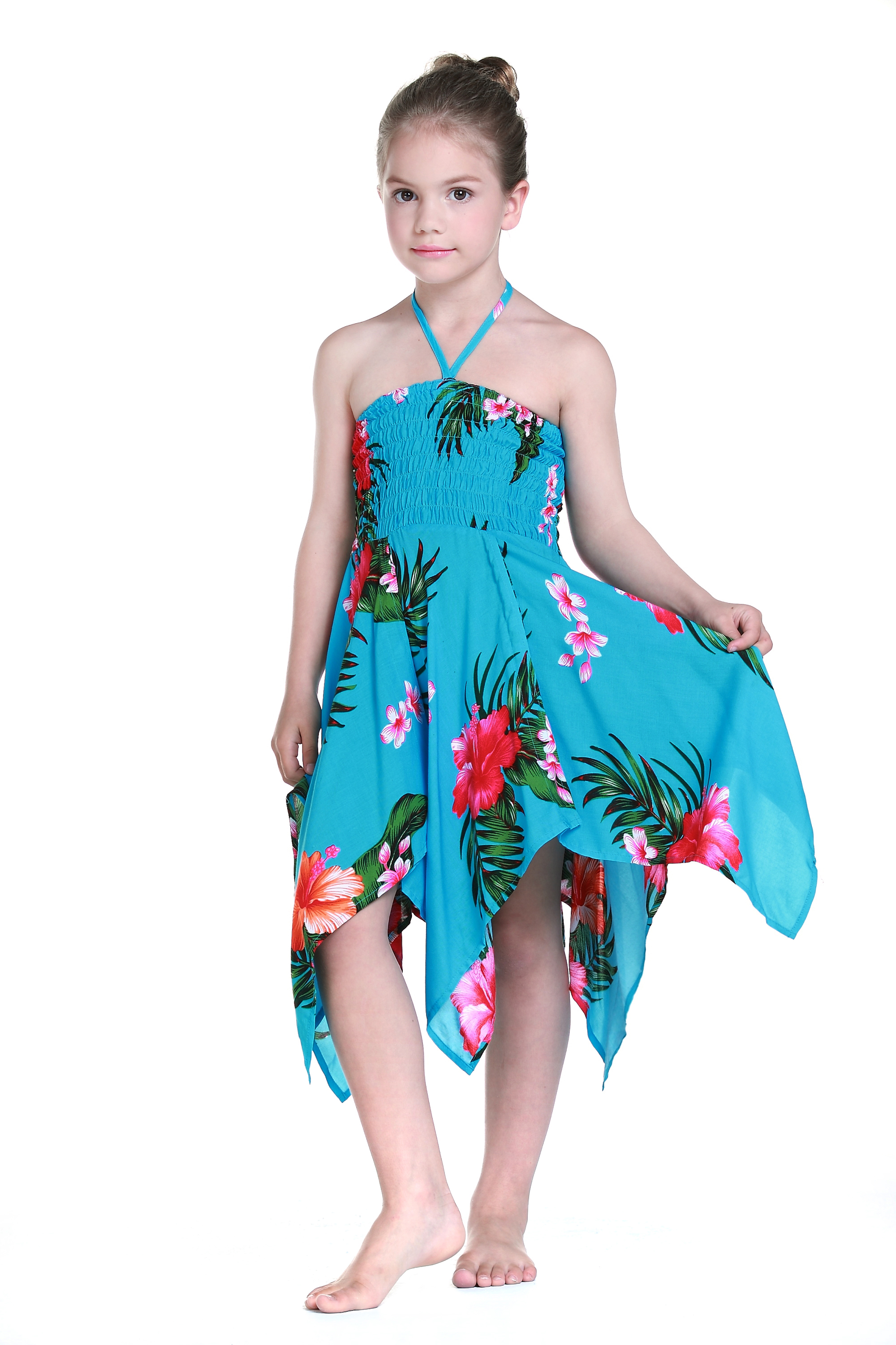 Girl Gypsy Uneven Button Hawaiian Luau Dress in Turquoise 4 ...