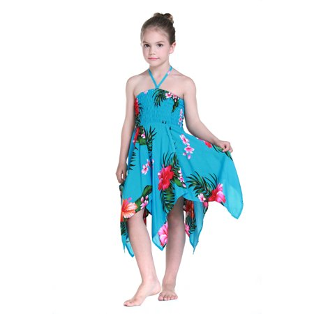 Girl Gypsy Uneven Button Hawaiian Luau Dress in Turquoise - Turquoise Dresses For Girls