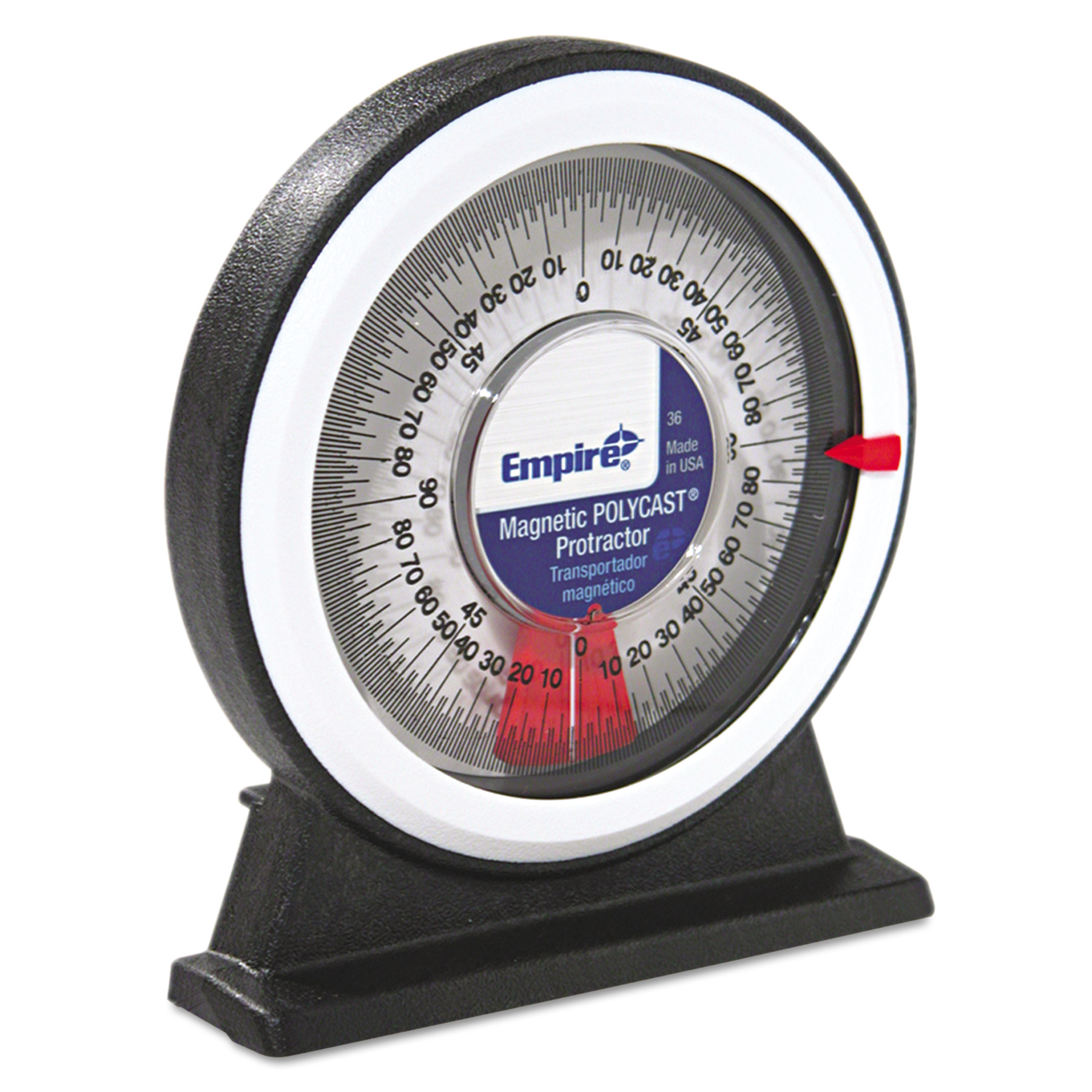 Empire Magnetic Polycast Angle Meter Protractor, 0 90°, 5w x 5 3/4h, Plastic