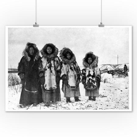 Eskimo Women In Alaska Photograph (9x12 Art Print, Wall Decor Travel Poster) - Eskimo Women