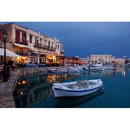 Greece, Crete, Rethimnon, Venetian Harbour, Illuminated, in the Evening Print Wall Art By Catharina Lux (Venetian Wall Art)