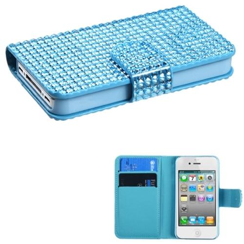 Insten Blue Diamonds Book-Style MyJacket Wallet Case Card Slot For APPLE iPhone 4 4S
