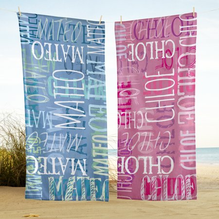 Personalized Graffiti Name Beach Towel - Available in Blue or