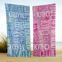 Personalized Graffiti Name Beach Towel - Available in Blue or Pink
