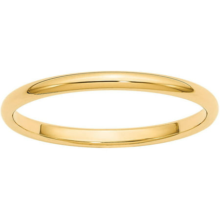 14k 2mm Half-Round Wedding Band