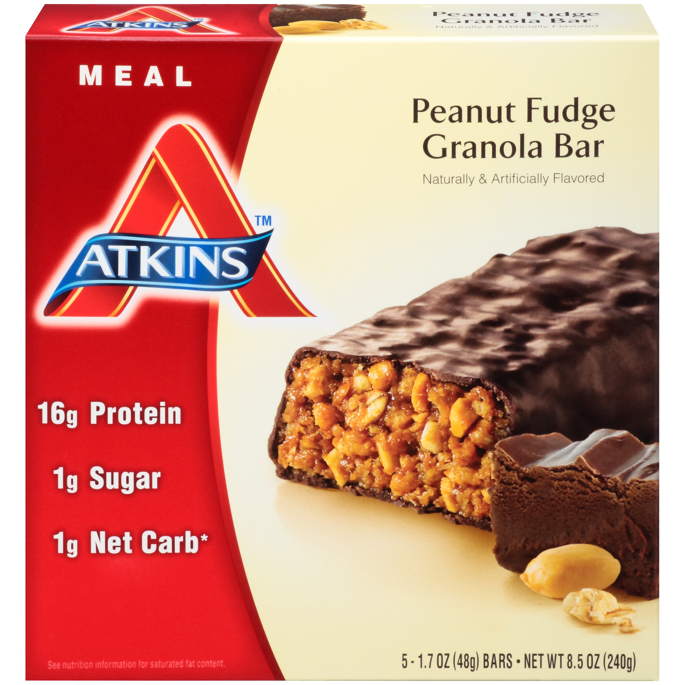 Atkins Peanut Fudge Granola Bars, 1.7 Oz, 5 Ct