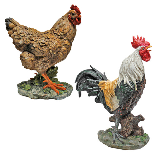 Design Toscano Henrietta the Hen and Cock-A-Doodle-Do Rooster Statue (Set of 2)