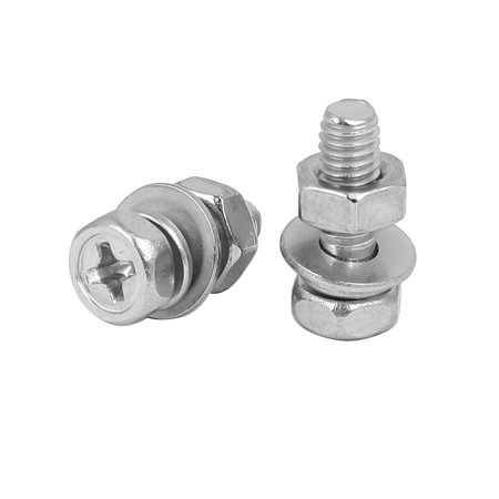 M4 x 12mm 304 Stainless Steel Phillips Hex Head Bolts Nuts w Washers 25 Sets - image 2 of 3
