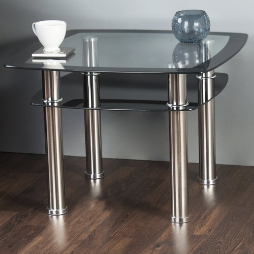 AVF Side/End/Lamp Table, Black Glass and Chrome, T22-A