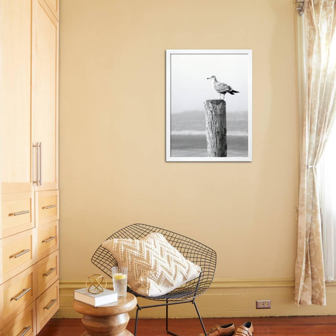 White Seagull on Post, Cape Cod Framed Print Wall Art By Steven ...