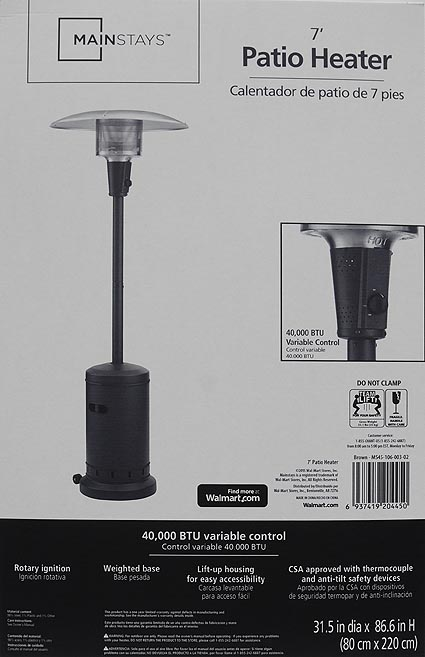 Awesome Mainstays Large Patio Heater   Walmart.com