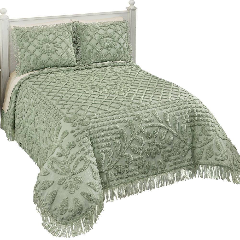 Vine Leaf Lattice and Floral Tufted Chenille Bedspread with Fringe Border - Elegant Bedroom Decor, Queen, Sage