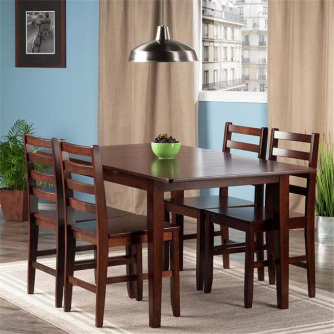 Winsome Wood Anna 5-PC Dining Table w/ Ladderback Chairs Set, Walnut