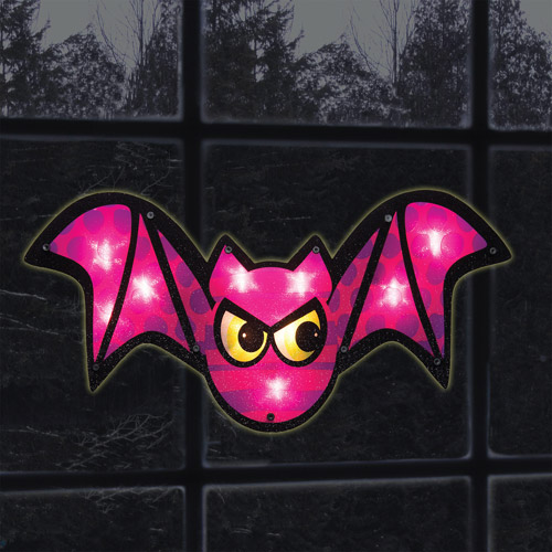Lighted Purple Bat Window Decoration