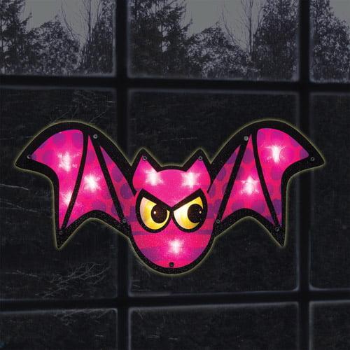 Lighted Purple Bat Window Decoration