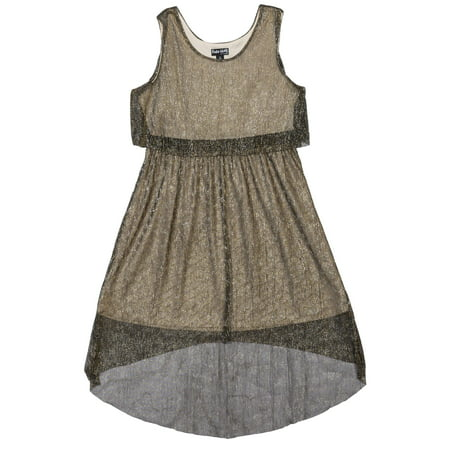 Girls' Fancy Crinkle Mesh Metallic Dress
