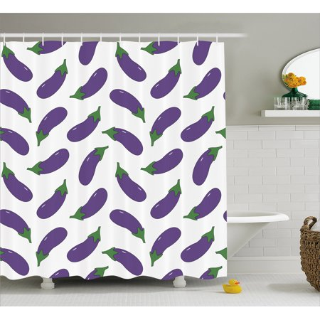 Eggplant Shower Curtain Yummy And Funny Eggplants Kid Friendly Drawing Nutritious Meals Vegan Natural
