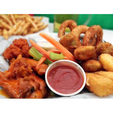 Canvas Print Lunch Fast Food Onion Rings Wings Chicken Dip Stretched Canvas 10 x