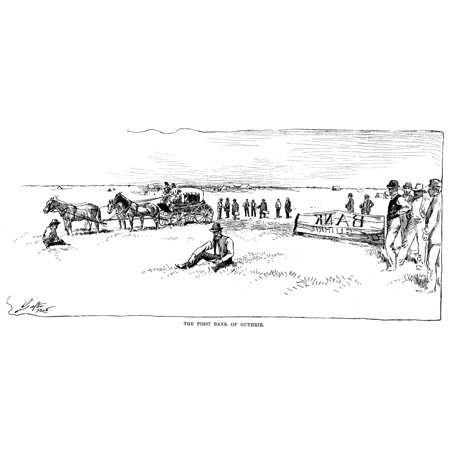 Oklahoma Land Rush 1889 Nestablishing The First Bank At Guthrie Oklahoma Territory On The First Day Of The Oklahoma Land Rush 22 April 1889 Drawing From A Contemporary American Newspaper Rolled Canvas