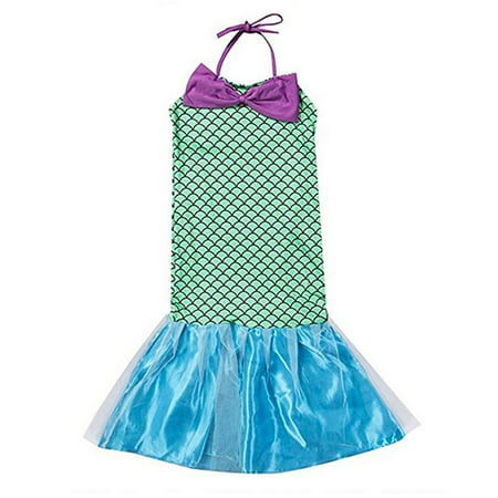 Baby Little Girl Mermaid Tail Halter Dress Costume Cosplay Party Bowknot Maxi Dress Swimwear - Baby Cosplay Ideas