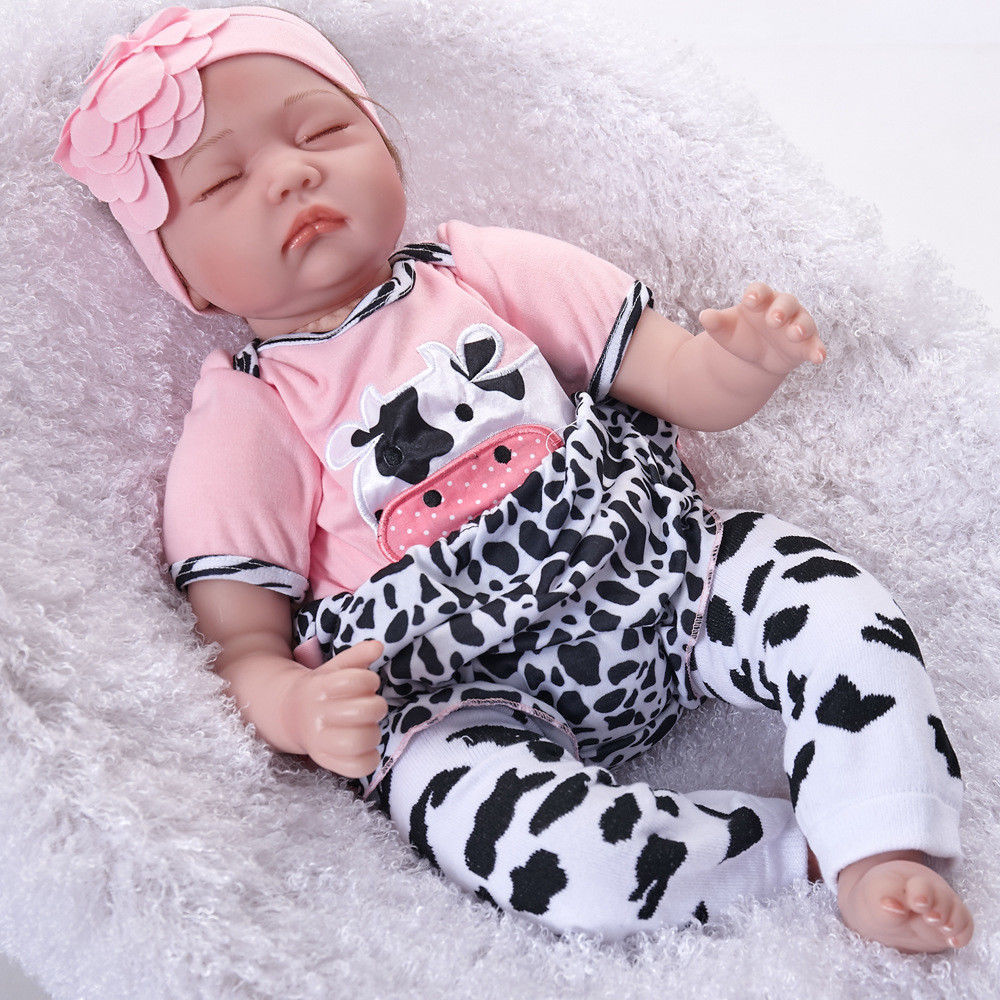"Realistic 22"" Reborn Baby Doll Full Body Silicone Vinyl Handmade Sleeping Girl"