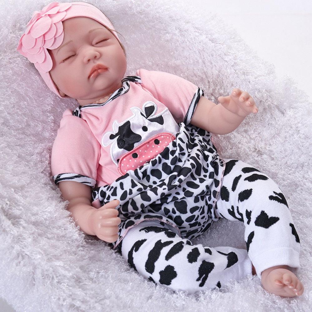"Realistic 22"" Reborn Baby Doll Full Body Silicone Vinyl Handmade Sleeping Girl"