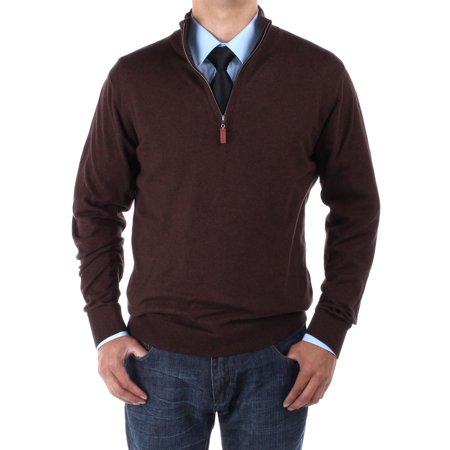 LN LUCIANO NATAZZI Men's Mock Neck 1/4 Zip Sweater Relaxed Fit Chocolate Chocolate Brown Cardigan