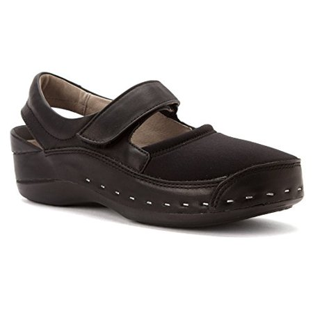 Wolky 6015-999: Women's Black Lycra/Smooth Leather Strap Cloggy (40 M EU)