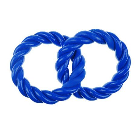 Durable Dog Toy Double Ring Conjoined Loop Tough Rubber Chew 8 1/2