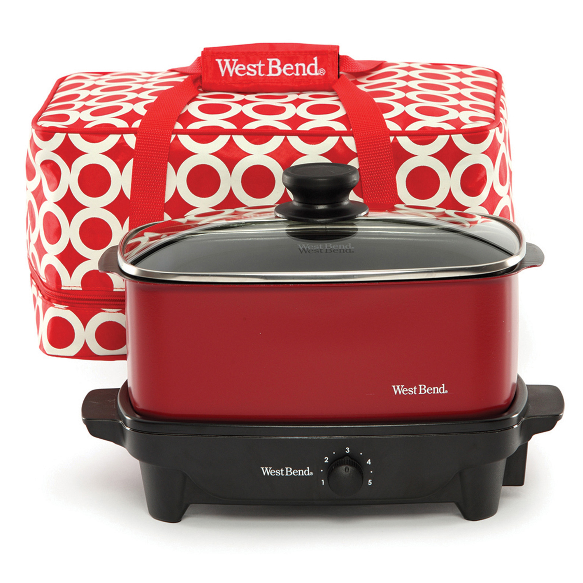 West Bend 84915R 5-Quart Versatility Slow Cooker with Tote, Red