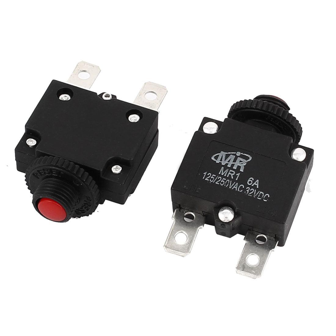 Unique Bargains  125V/250V 6A Red Reset Button Overload Protector Circuit Breaker 2Pcs