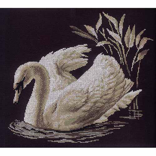 """RTO Swan Counted Cross-Stitch Kit, 15-3/4"""" x 13-3/4"""", 14 Count"""
