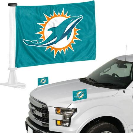 Miami Dolphins Auto Ambassador Flag Set - No Size ()