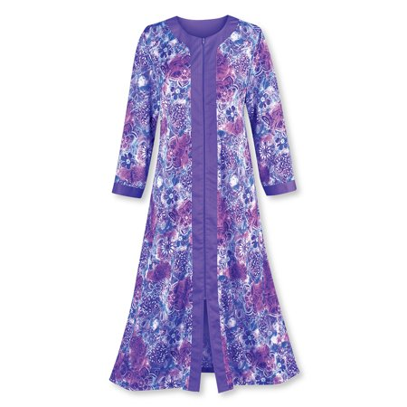 Women's Zip Front Floral Long Robe with Long Sleeves - Comfortable Loungewear with Side Pockets and Split Neckline, Medium, Purple Cotton Extra Long Robe