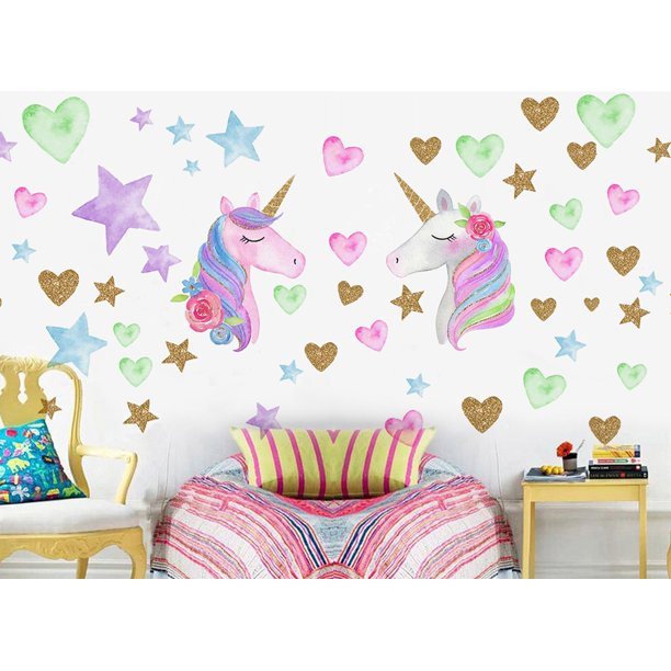 2 Sheets Unicorn Wall Decor for Bedroom, Removable Unicorn Wall Decals Stickers for Girls Boys Kids Cute Nursery Birthday Party Favor Child Birthday Graduation Christmas Gifts
