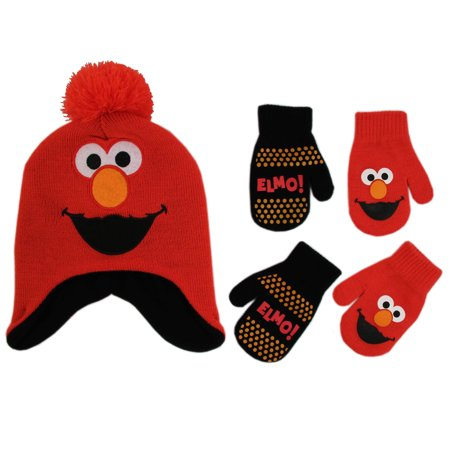 Sesame Street Elmo Hat and 2 Pair Mittens Cold Weather Set, Toddler Boys Age (Emo Gloves)