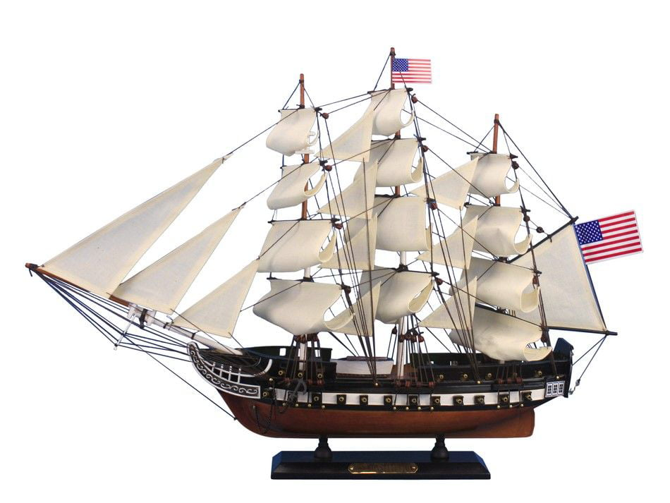 """USS Constitution 24"""" Wooden Model Warship Decorative Wood Tall Ship by Hampton Nautical"""