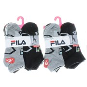 12 Pairs Fila Black and Gray Low Cut Women's Ankle Socks Size 9-11 Shock Dry