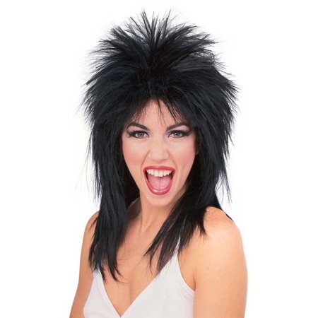 Super Star Punk Rock Rocker 80s Costume Wig Black R50723/69](80s Rockstar Wig)