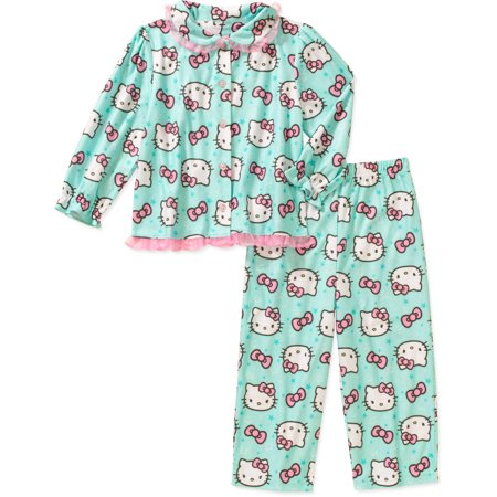 Hello Kitty Toddler Girl Button Down Pajama Set - Walmart.com