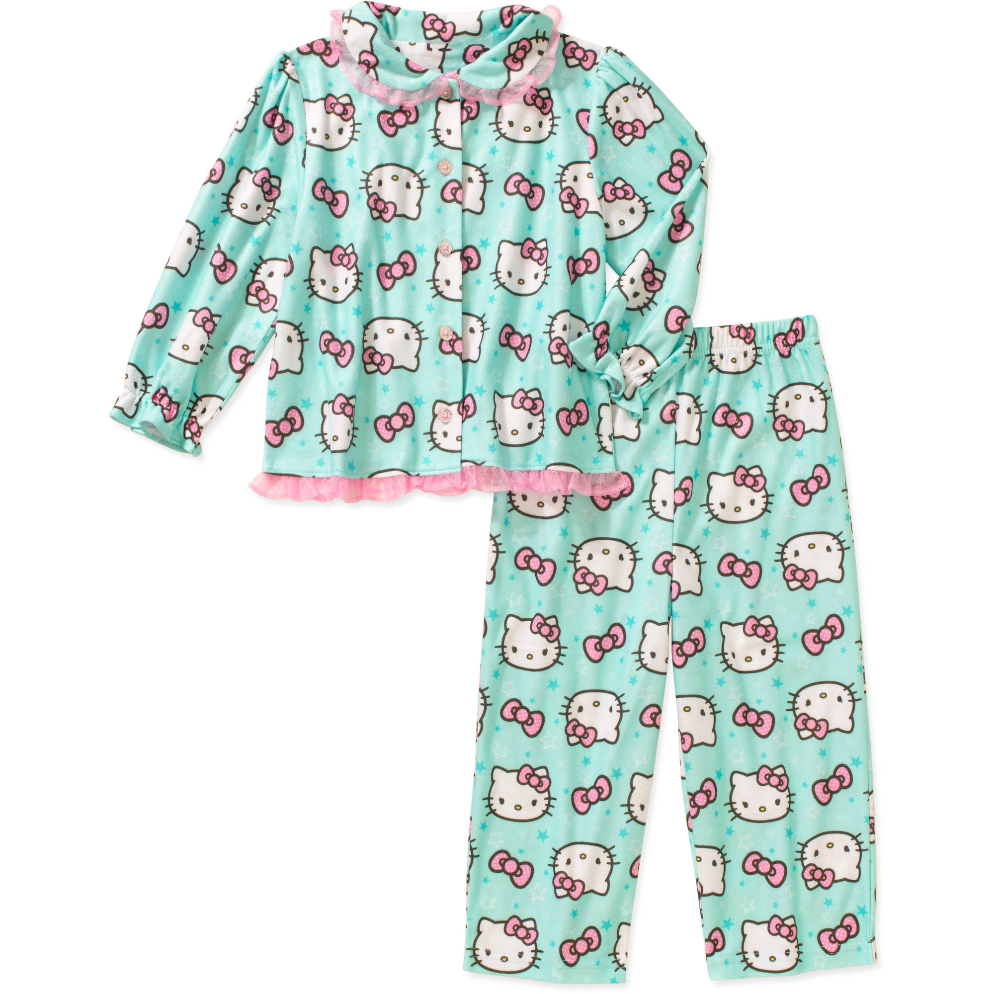 Hello Kitty Toddler Girl Button Down Pajama Set
