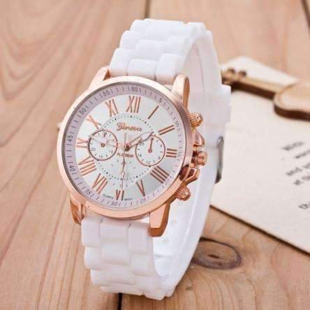 Geneva Bands (Casual Elegance Rose Gold Geneva Watch with Silicone Band ~ 3 Colors to Choose White)