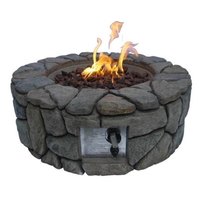 Peaktop Stone Gas Outdoor Firepit by Teamson Design
